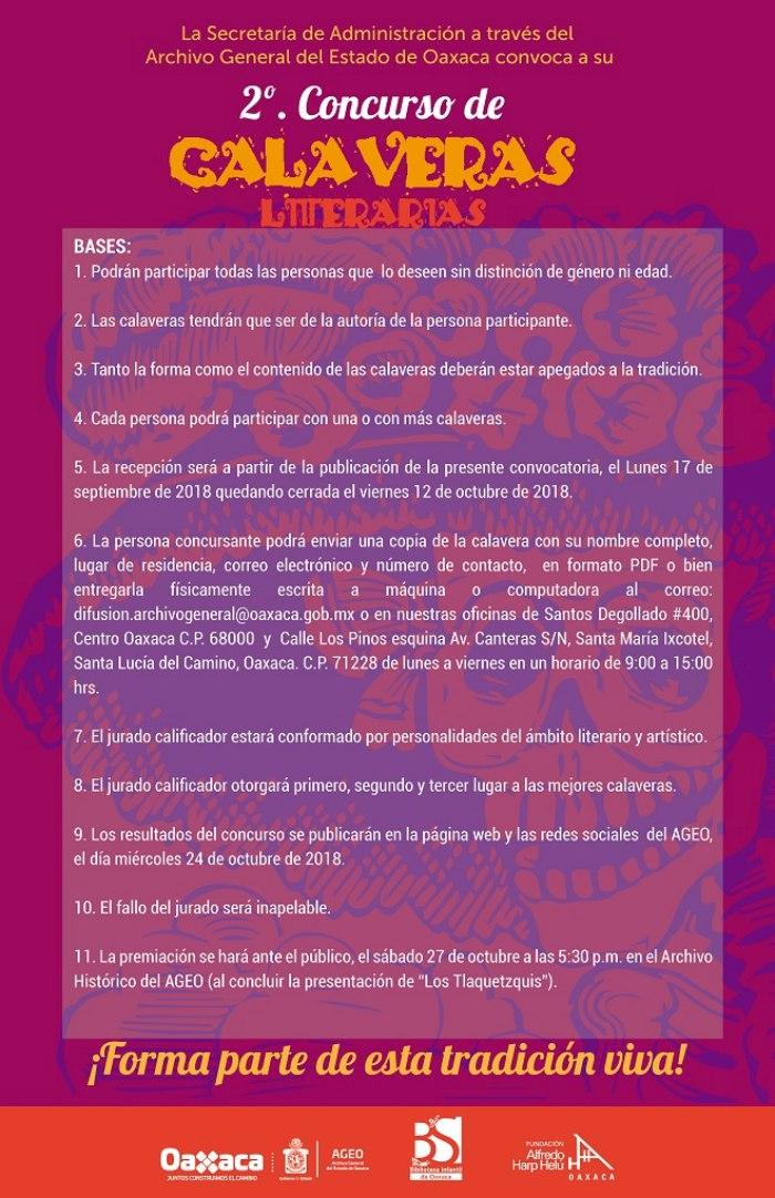 Concluye el 12 de octubre recepción al Segundo Concurso de Calaveras Literarias del AGEO