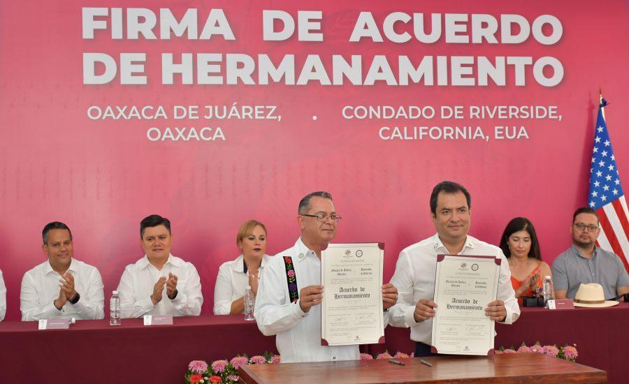 Concretan Oaxaca de Juárez y Riverside, California, lazos de cooperación bilateral