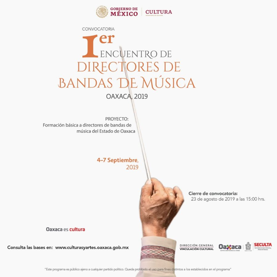 Convoca Seculta al Primer Encuentro de Directores de Bandas, Oaxaca 2019