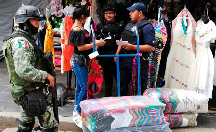 Policía Municipal y Guardia Nacional refuerzan vigilancia en el Centro Histórico de la capital