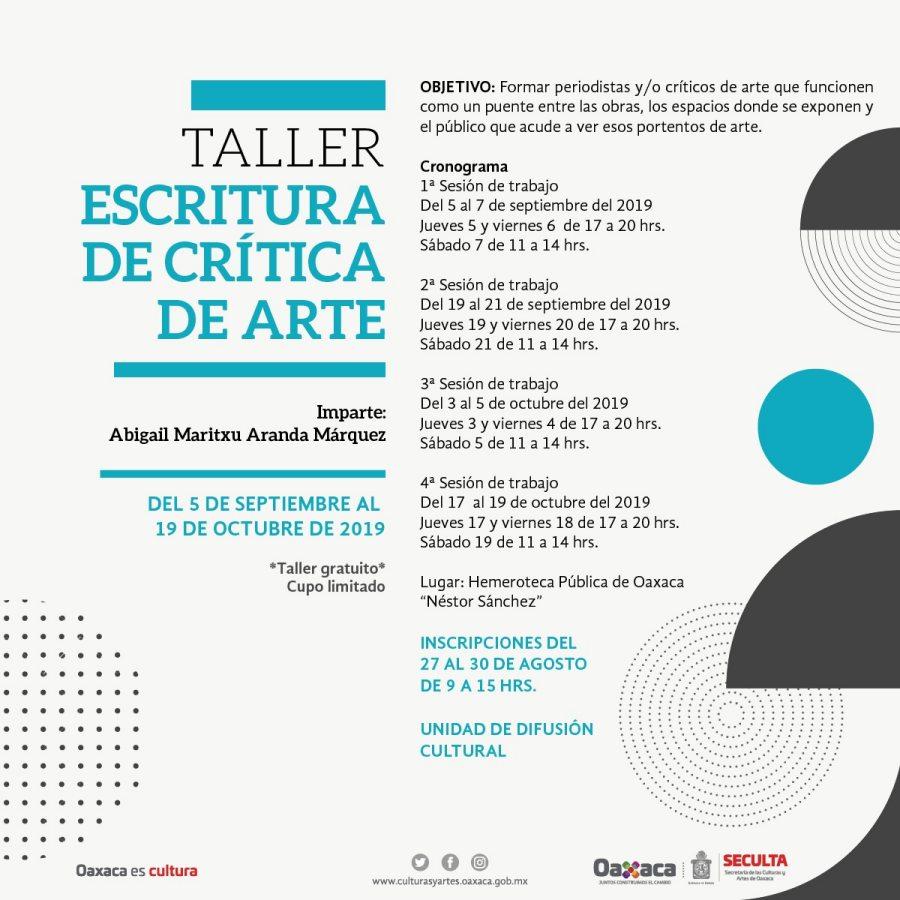 Invita Seculta a taller de escritura de crítica de arte en Oaxaca