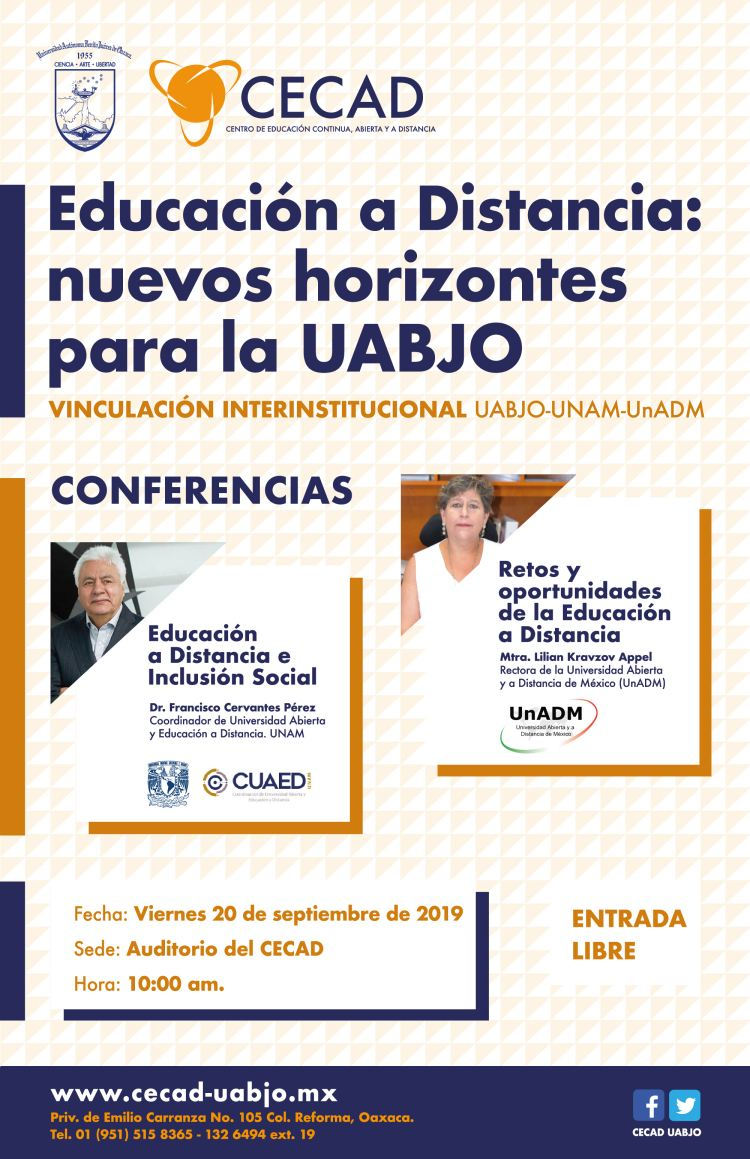 CECAD-UABJO invita a conferencias magistrales sobre educación a distancia