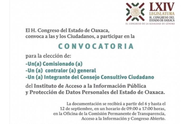 Llama Congreso a ciudadanía para ocupar cargos en el IAIPO