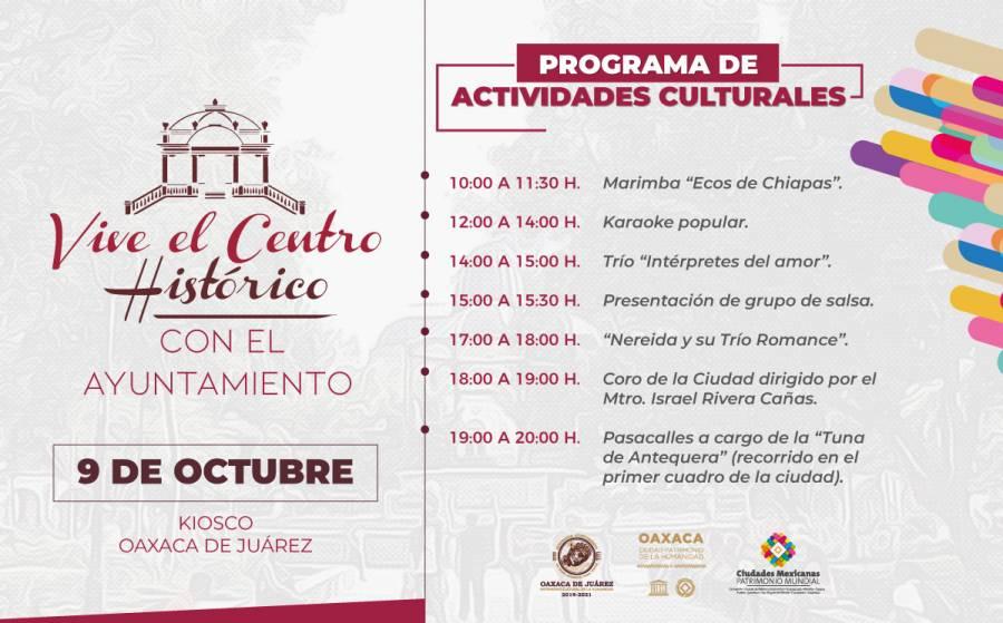 """""""Vive el Centro Histórico"""" de Oaxaca de Juárez este miércoles 9 de octubre"""