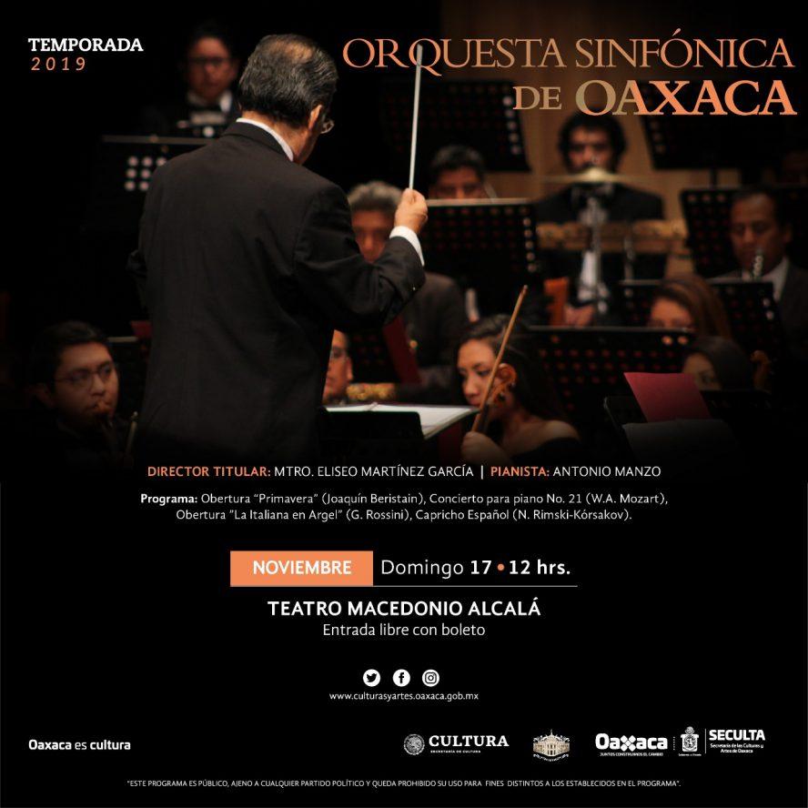 Concierto dominical de la Sinfónica de Oaxaca en el teatro Alcalá