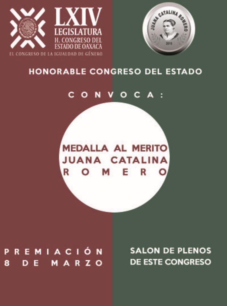 """Reconocerá Congreso a mujeres con la Medalla """"Juana Catalina Romero Egaña"""""""