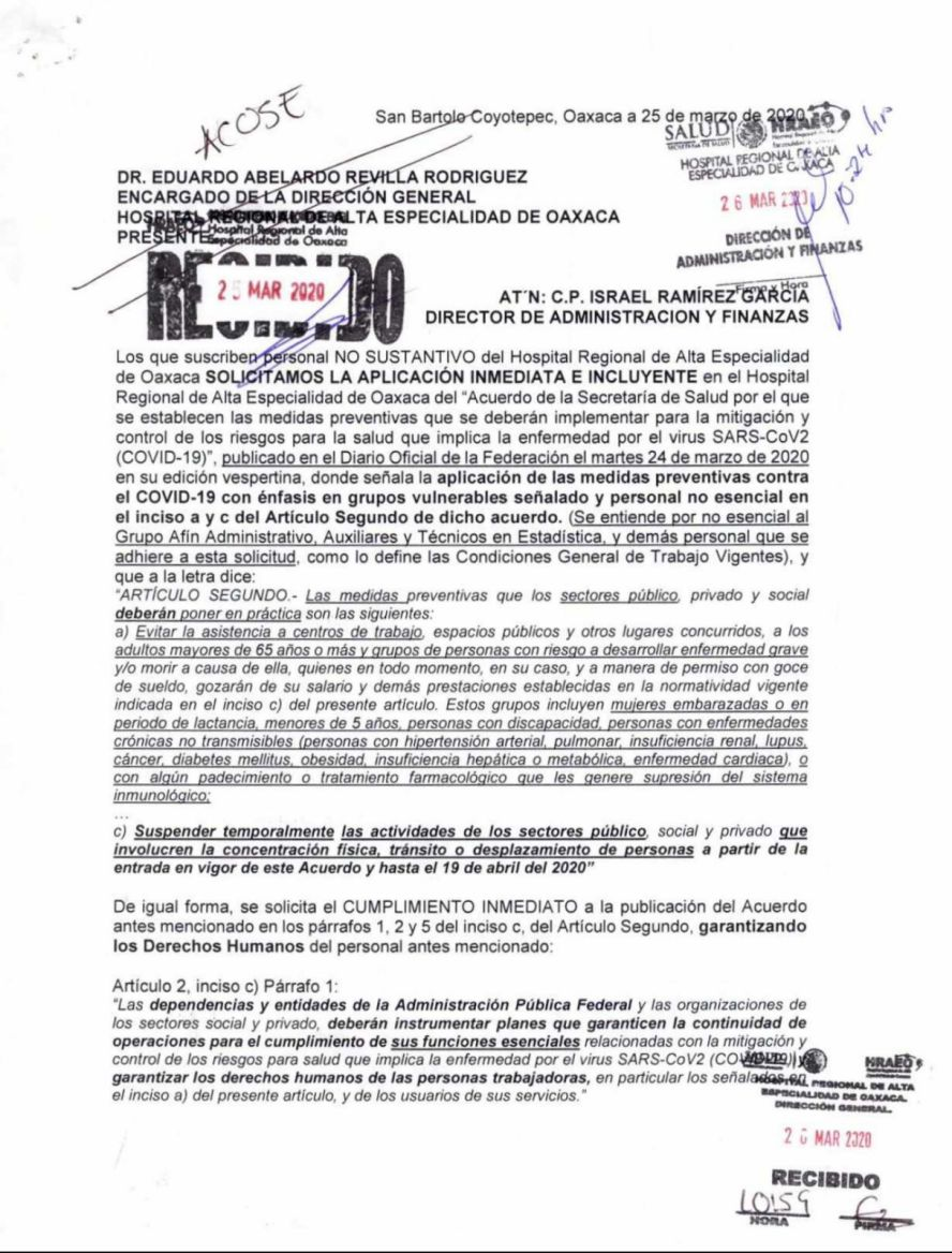 Denuncia personal no sustantivo del Hospital de Especialidades que les obligan ir a trabajar