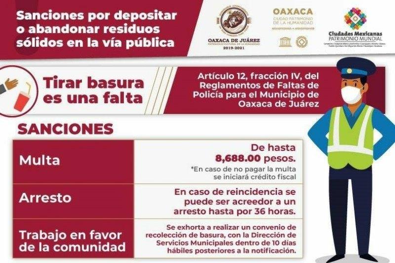 Prevé Ayuntamiento de Oaxaca medidas más severas para quien abandone desechos en vía pública
