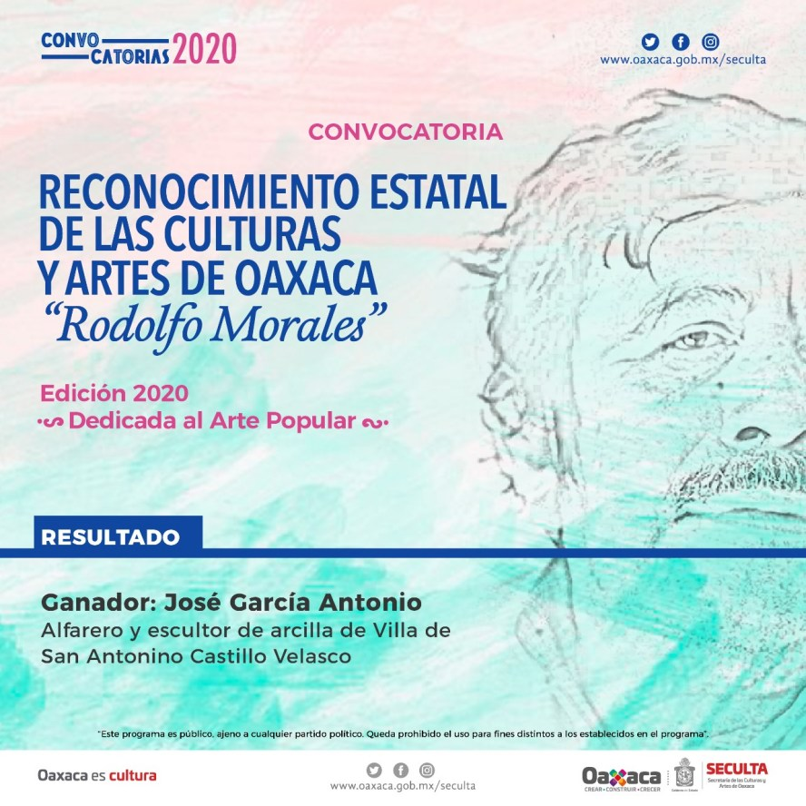 """Gana José García Antonio convocatoria del Reconocimiento Estatal de las Culturas y Artes """"Rodolfo Morales"""""""