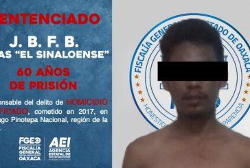 Sentencia de 60 años de prisión contra integrante de célula criminal que asesinó a dos personas, en la Costa de Oaxaca