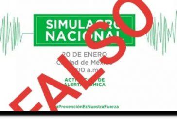 Autoridades desmienten simulacro nacional para este 20 de enero