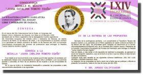Emite Congreso de Oaxaca convocatoria para recibir la medalla Juana Catalina Romero Egaña