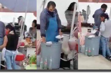 Video: mujer saca platos de la basura para sus clientes en Edomex