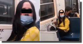 Así vandaliza tren del Metro y la apodan #LadyRayaVagones