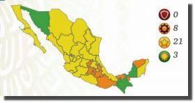 Actualizan el semáforo epidemiológico; Campeche, Chiapas y Sonora están en verde