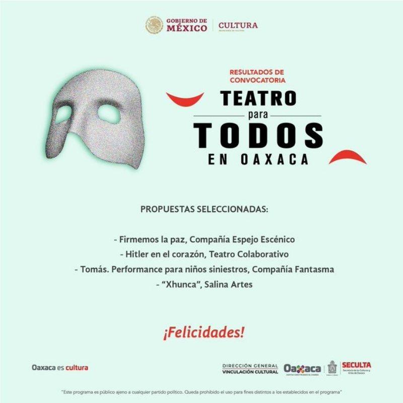 """Informa Seculta los seleccionados de la convocatoria """"Teatro para todos"""""""
