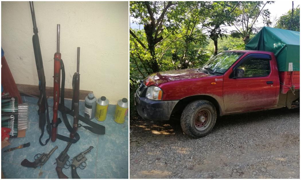 En operativo realizado en San Pedro Ixcatlán, FGEO asegura vehículos, armas y detiene a una persona