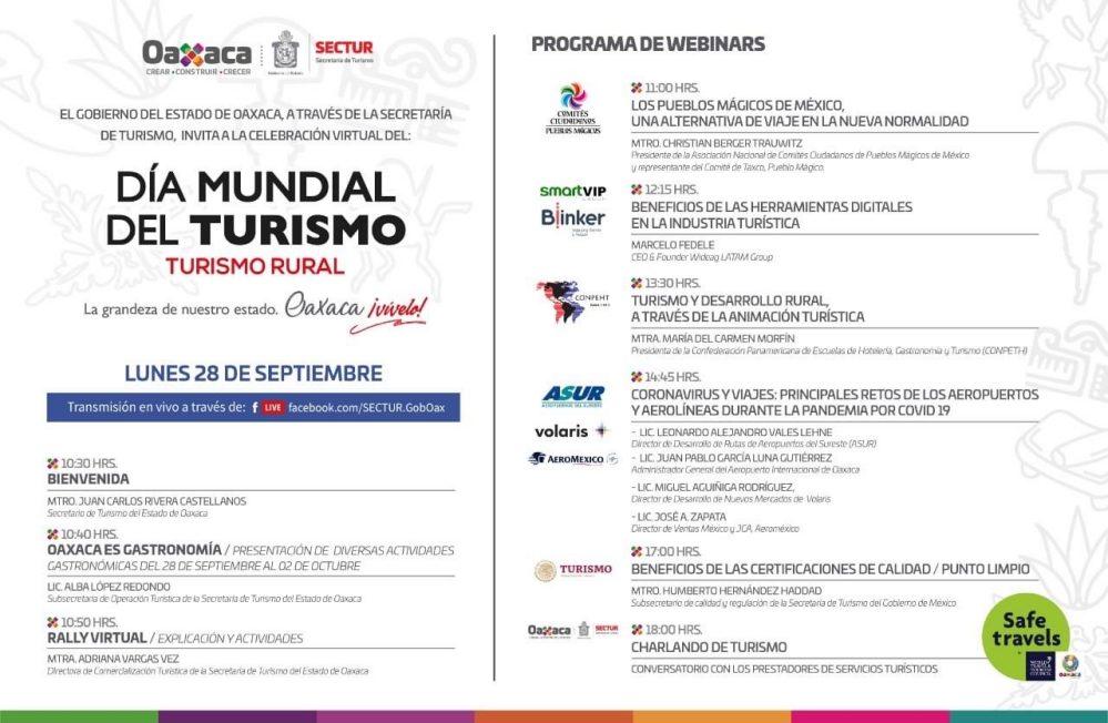 Invita Sectur Oaxaca a conmemorar el Día Mundial del Turismo