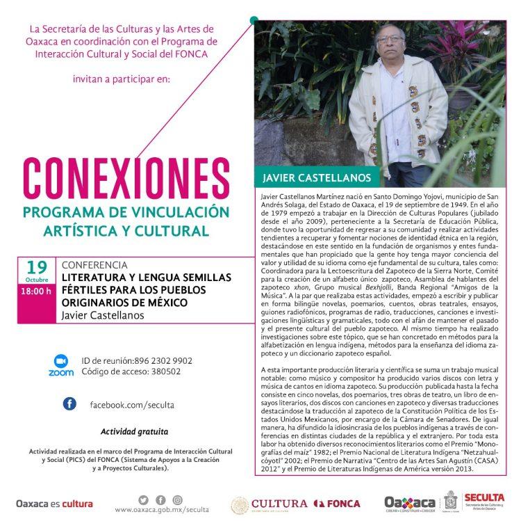 """Seculta te invita a la conferencia """"Literatura y lengua semillas fértiles para los pueblos originarios de México"""""""