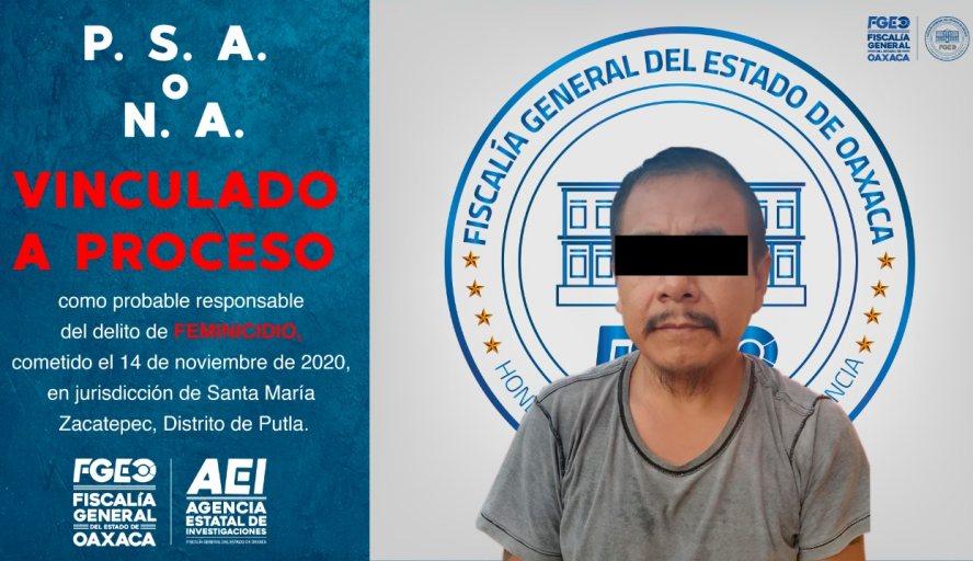 Fiscalía de Oaxaca vincula a proceso a otro probable feminicida; hechos suscitados en Putla