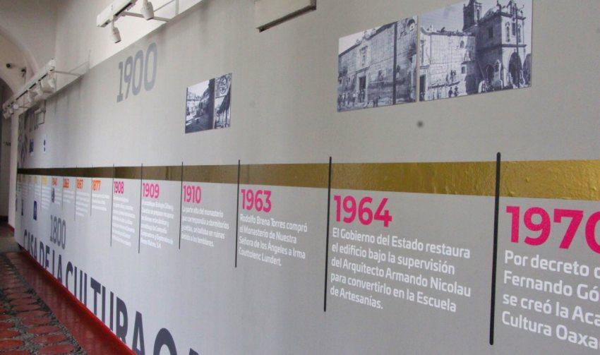 Reubica Casa de la Cultura Oaxaqueña línea del tiempo que narra la historia del Ex Convento de Santa María de los Ángeles