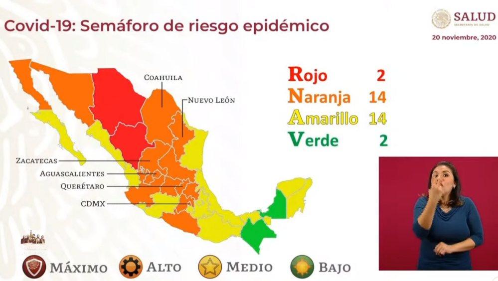 Por primera vez, dos estados en color verde; Oaxaca continúa en amarillo