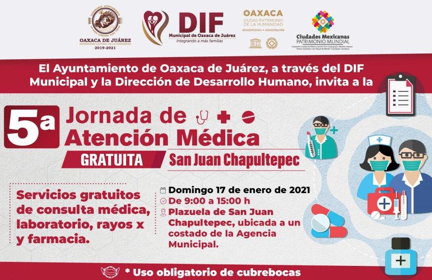 Invita Ayuntamiento de Oaxaca a la 5ª Jornada de Atención Médica Gratuita en San Juan Chapultepec