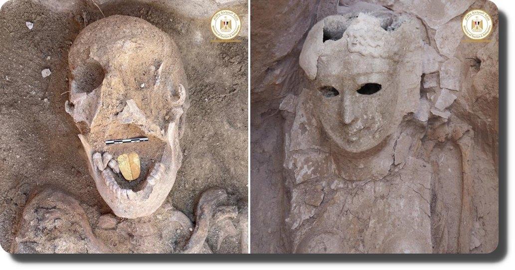 Encuentran una momia en Egipto con la lengua de oro