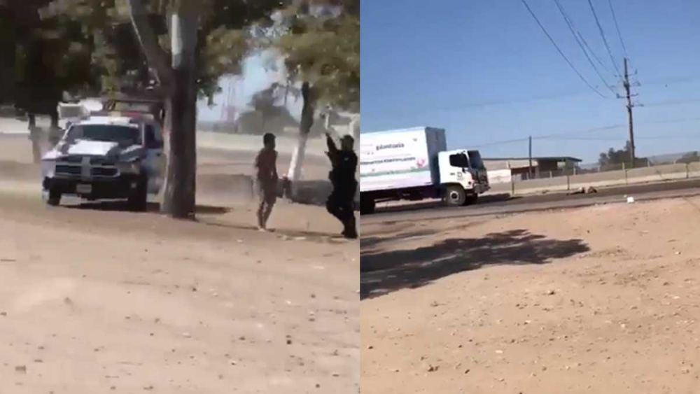 FUERTE VIDEO: Huye de policías y termina atropellado por camión