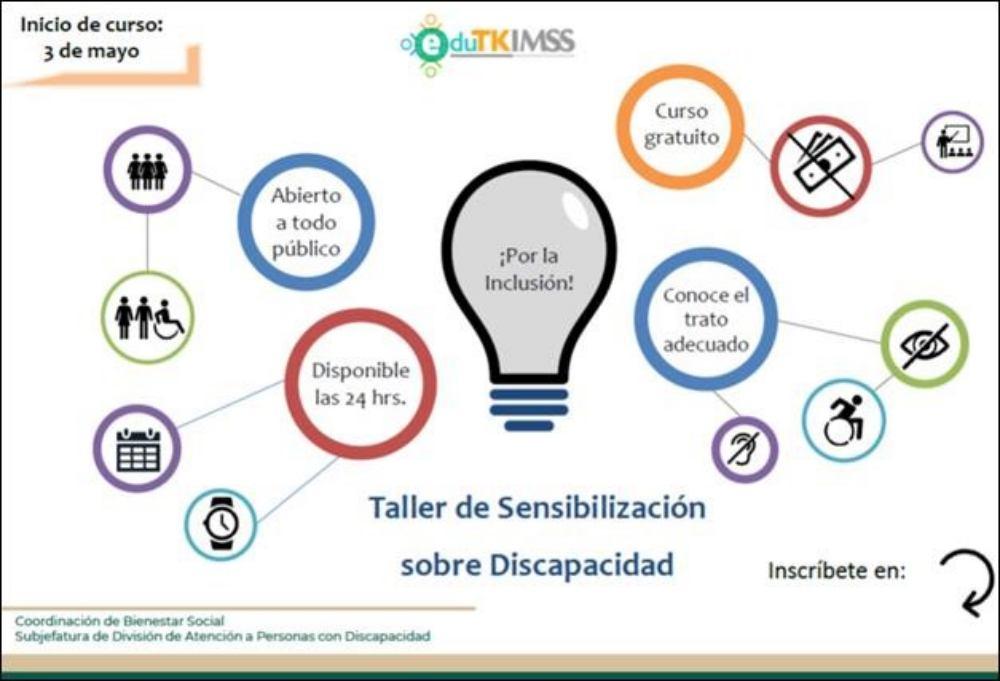 Invita IMSS Oaxaca a participar en taller de sensibilización sobre discapacidad a través de la página EDUTK IMSS